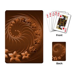 Brown Abstract Flowers Playing Cards Single Design by BestCustomGiftsForYou