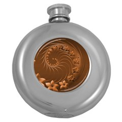 Brown Abstract Flowers Hip Flask (round) by BestCustomGiftsForYou