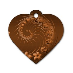 Brown Abstract Flowers Dog Tag Heart (two Sided) by BestCustomGiftsForYou