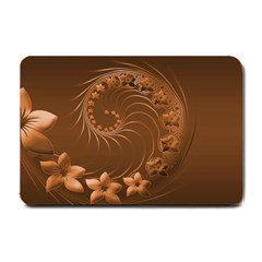 Brown Abstract Flowers Small Door Mat by BestCustomGiftsForYou