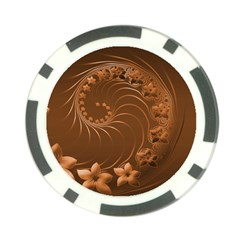Brown Abstract Flowers Poker Chip by BestCustomGiftsForYou