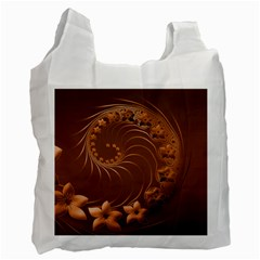 Brown Abstract Flowers Recycle Bag (two Sides)