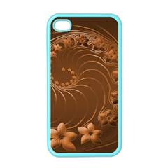 Brown Abstract Flowers Apple Iphone 4 Case (color) by BestCustomGiftsForYou
