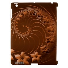 Brown Abstract Flowers Apple Ipad 3/4 Hardshell Case (compatible With Smart Cover) by BestCustomGiftsForYou