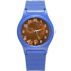 Brown Abstract Flowers Plastic Sport Watch (small) by BestCustomGiftsForYou