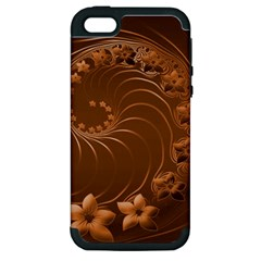 Brown Abstract Flowers Apple Iphone 5 Hardshell Case (pc+silicone) by BestCustomGiftsForYou