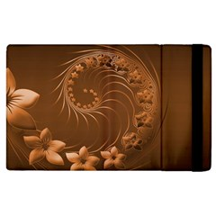 Brown Abstract Flowers Apple Ipad 2 Flip Case by BestCustomGiftsForYou