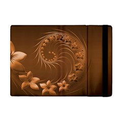 Brown Abstract Flowers Apple Ipad Mini Flip Case by BestCustomGiftsForYou