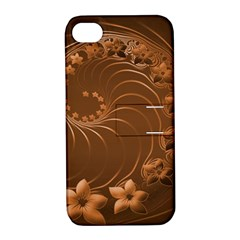 Brown Abstract Flowers Apple Iphone 4/4s Hardshell Case With Stand by BestCustomGiftsForYou