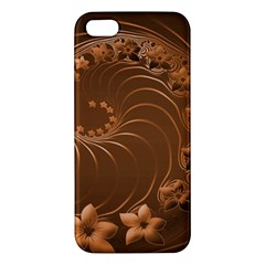 Brown Abstract Flowers Iphone 5 Premium Hardshell Case by BestCustomGiftsForYou