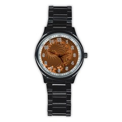 Brown Abstract Flowers Sport Metal Watch (black) by BestCustomGiftsForYou
