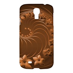 Brown Abstract Flowers Samsung Galaxy S4 I9500 Hardshell Case by BestCustomGiftsForYou
