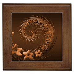 Dark Brown Abstract Flowers Framed Ceramic Tile by BestCustomGiftsForYou
