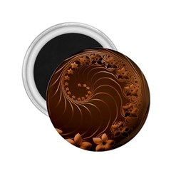 Dark Brown Abstract Flowers 2 25  Button Magnet by BestCustomGiftsForYou
