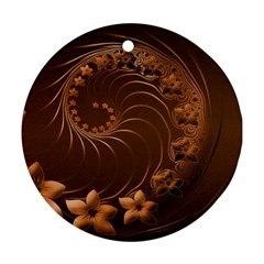 Dark Brown Abstract Flowers Round Ornament by BestCustomGiftsForYou