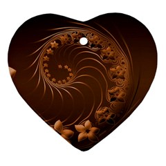 Dark Brown Abstract Flowers Heart Ornament