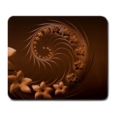 Dark Brown Abstract Flowers Large Mouse Pad (rectangle) by BestCustomGiftsForYou