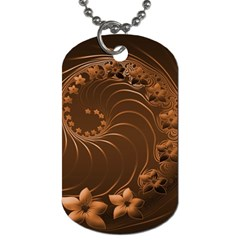Dark Brown Abstract Flowers Dog Tag (two Sided)  by BestCustomGiftsForYou