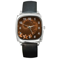 Dark Brown Abstract Flowers Square Leather Watch by BestCustomGiftsForYou