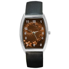 Dark Brown Abstract Flowers Tonneau Leather Watch by BestCustomGiftsForYou
