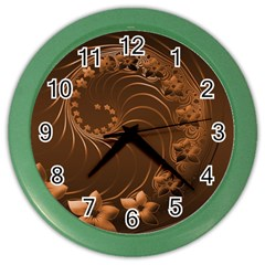 Dark Brown Abstract Flowers Wall Clock (color) by BestCustomGiftsForYou