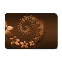 Dark Brown Abstract Flowers Small Door Mat by BestCustomGiftsForYou