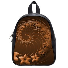 Dark Brown Abstract Flowers School Bag (small) by BestCustomGiftsForYou
