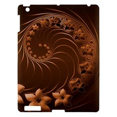 Dark Brown Abstract Flowers Apple Ipad 3/4 Hardshell Case by BestCustomGiftsForYou
