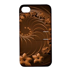 Dark Brown Abstract Flowers Apple Iphone 4/4s Hardshell Case With Stand by BestCustomGiftsForYou
