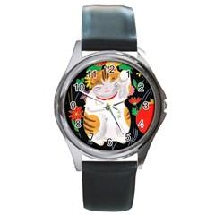 Maneki Neko Round Metal Watch (silver Rim) by TabbyCatStudios