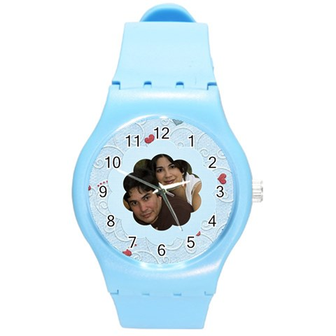 Blue Swirly Hearts By Ivelyn   Round Plastic Sport Watch (m)   Rshu5c8xgneo   Www Artscow Com Front