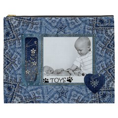 Denim Love Xxxl Cosmetic Bag By Lil    Cosmetic Bag (xxxl)   M5ttfngaayba   Www Artscow Com Front