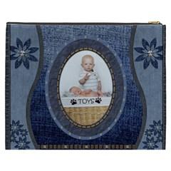 Denim Floral Xxxl Cosmetic Bag By Lil    Cosmetic Bag (xxxl)   C7kk0tfry4s7   Www Artscow Com Back