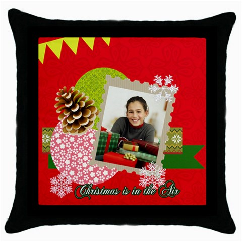 Merry Christmas By Merry Christmas   Throw Pillow Case (black)   Z40mfxz9zk71   Www Artscow Com Front