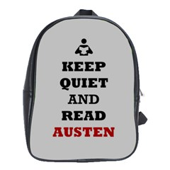 Keep Quiet And Read Austen School Bag (large) by readmeatee