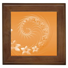 Orange Abstract Flowers Framed Ceramic Tile by BestCustomGiftsForYou