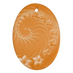 Orange Abstract Flowers Oval Ornament by BestCustomGiftsForYou