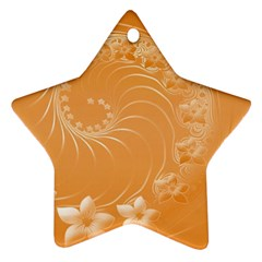 Orange Abstract Flowers Star Ornament by BestCustomGiftsForYou