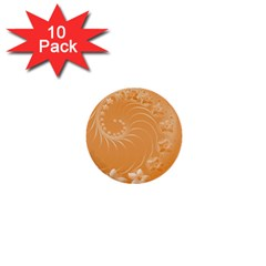 Orange Abstract Flowers 1  Mini Button (10 Pack) by BestCustomGiftsForYou
