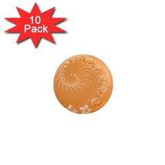 Orange Abstract Flowers 1  Mini Button Magnet (10 Pack) by BestCustomGiftsForYou