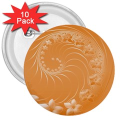 Orange Abstract Flowers 3  Button (10 Pack) by BestCustomGiftsForYou