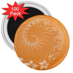 Orange Abstract Flowers 3  Button Magnet (100 Pack) by BestCustomGiftsForYou
