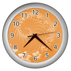 Orange Abstract Flowers Wall Clock (silver) by BestCustomGiftsForYou