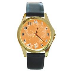 Orange Abstract Flowers Round Metal Watch (gold Rim)
