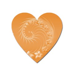 Orange Abstract Flowers Magnet (heart) by BestCustomGiftsForYou