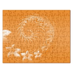 Orange Abstract Flowers Jigsaw Puzzle (rectangle) by BestCustomGiftsForYou