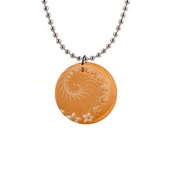 Orange Abstract Flowers Button Necklace by BestCustomGiftsForYou