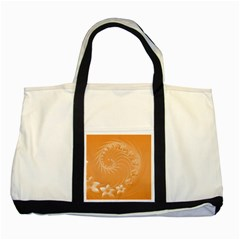 Orange Abstract Flowers Two Toned Tote Bag by BestCustomGiftsForYou