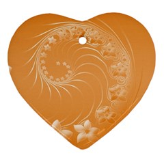 Orange Abstract Flowers Heart Ornament (two Sides) by BestCustomGiftsForYou