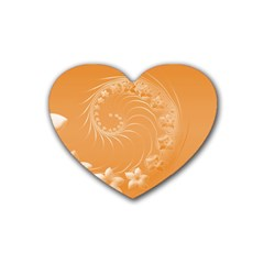 Orange Abstract Flowers Drink Coasters 4 Pack (heart)  by BestCustomGiftsForYou